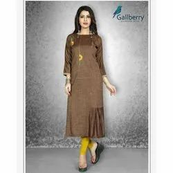 Ladies Round Neck Rayon Kurti