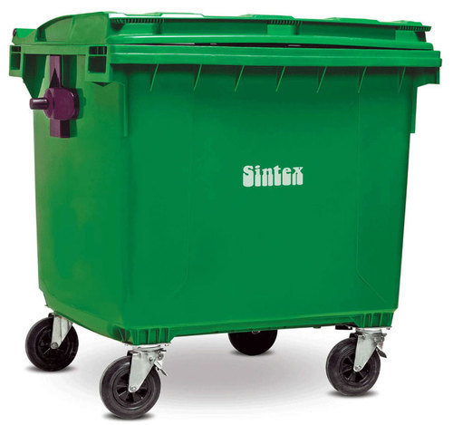 Plastic Green Industrial Waste Bin, Size: 660 Liters