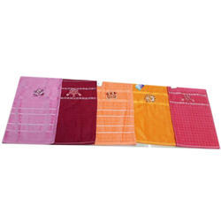 Checked Cotton Hand Towel, 60 Gm, Size: 12 X 21 Cm