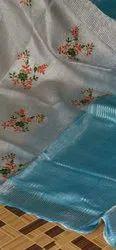 Embroidered Silk Linen Saree