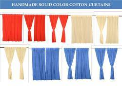 Solid Color Drapes Door Cotton Curtains