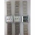 Male Metal Square Dial Silver Tone Chain Wrist Watch