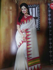 White Bhagalpuri Silk Sari With Good Quality