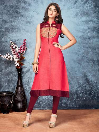 Lotus-2 Sleeveless Pink Embroidered Kurti, Size: S, M & L