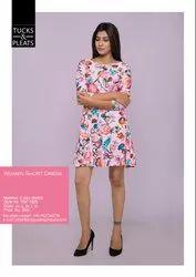 Rayon Pink Printed 4 Way Stretch Short Dress, 3/4th Sleeve