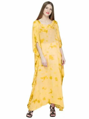 46a3e09114 Skavij Womens Caftan Rayon Tie-Dye Soft Beach Cover Up Long Kaftan  Embroidered Rayon Maxi