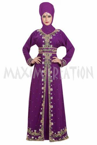 3bb9bcb34e Georgette Designer Formal Wear Maghribi Kaftan For Ladies