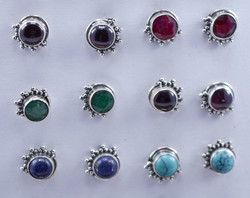 Emerald Gemstone Handmade Jewelry 925 Silver Earring Stud