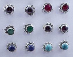 Emerald Gemstone Handmade Jewelry 925 Silver Earring Stud