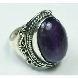 Purple Stone Silver Rings