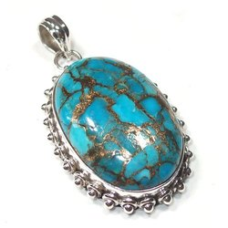 Copper Turquoise Silver Pendant