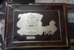 Silver & Maroon Royal wedding metal card, Size: 17 X 14 Inches