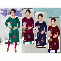 Ladies Casual Designer Rayon Kurti, Size: XL-XXXL