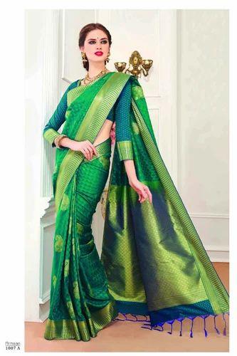 9cbb4f3efb Art Silk Green Color Party Wear Pattu Saree, Rs 2100 /piece | ID ...