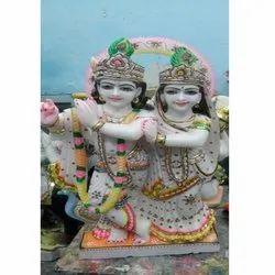 Traditional White Marble Radha Krishna Statue