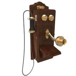 Antique Vintage Wooden And Brass Finsh Wall Telephone