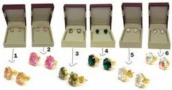 Multi Color Cubic Zircon Stud Earring