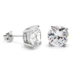 HRB Exports Round Silver Diamond Earring