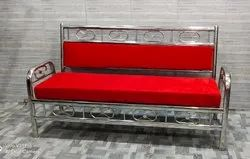 3 Seater Stainless Steel Red Sofa
