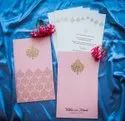 Pastel Pink Color Shaadi Invitation Card For Marriage With Traditional Motifs Printed
