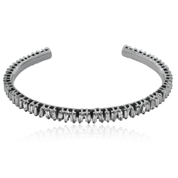 White Baguette Diamond Cuff Bangle