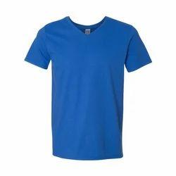 Blue Cotton Mens V Neck T Shirt