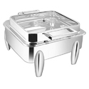 Square Full Glass Chafer W Curved Legs