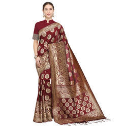 Exclusive Maroon Weaving Banarasi Silk Saree with Blouse Piece