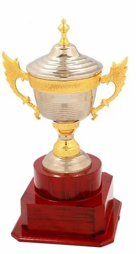 Golden & Silver Brass Silver Cup with Handle Trophy