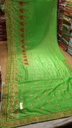 Silk,Georgette Party Wear Ladies Green Border Plain Saree, Without Blouse, 6.3 m (with blouse piece)