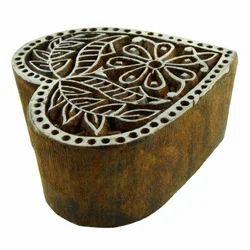 Wooden Flower Pattern Heart Shape Printing Block
