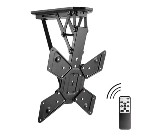 Black Brateck Remote Control Motorized Flip Down Tv Ceiling Mount