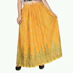 Sanganeri print rayon skirt