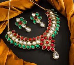 Wedding Wear Artificial Jewelry Kundan Necklace Set for Women