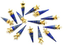 Lapis Lazuli Gold Electroplated Spikes Pendant
