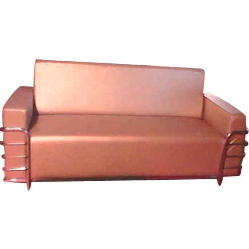 Stainless Steel And Leather Plain High Back Leather Sofa