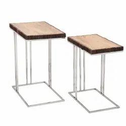Wooden Rectangular Side Table, Size: 71-76 Cm