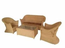 Universal Furniture Beige 5 Seater Bamboo Cane Sofa Set with Table