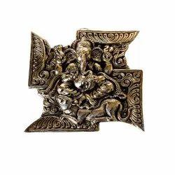 Silver Swastik Ganesha Statue