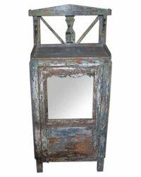 Shree Karni Handicrafts Multicolor Wooden Glass Small Cabinet