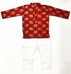 Lalabuy Kids Gold Print Kurta Pyjama