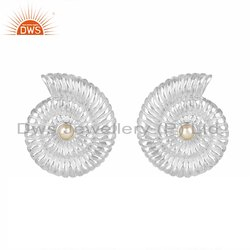Spiral Shell Design Sterling Fine Silver Natural Pearl Earrings Supplier
