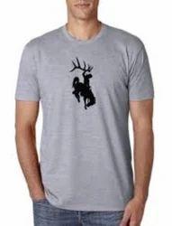Grey Cotton Men T-shirt