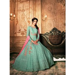 Ladies Sea Green Wedding Wear Anarkali Suit