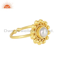 Ethnic Design 18k Yellow Gold Plated Silver Natural Pearl Ring Jewelry