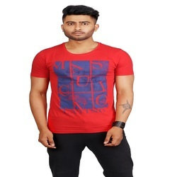 Fashion Printed Red Half Sleeve T Shirt, Size: Small, Medium, Large, XL