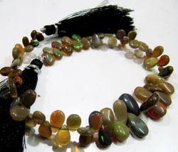 Ethiopian Opal Plain Pear Drop Beads