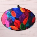 Oval Shaped Printed Box Clutch