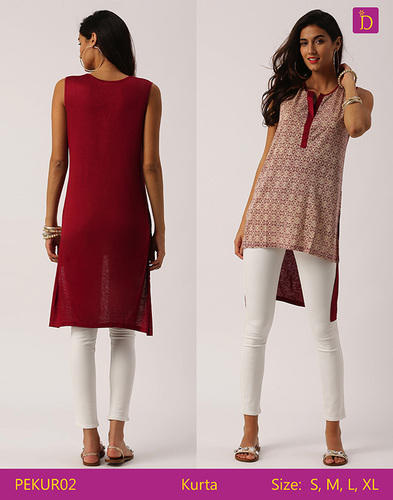 dbcfa1ab207 Indusdiva and Woman Tunic Tops Tunics for Women Knee Length Kurta with  Khadi Print and Curved