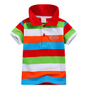 Multi Horizontal Stripes Half Sleeves Polo T-Shirt